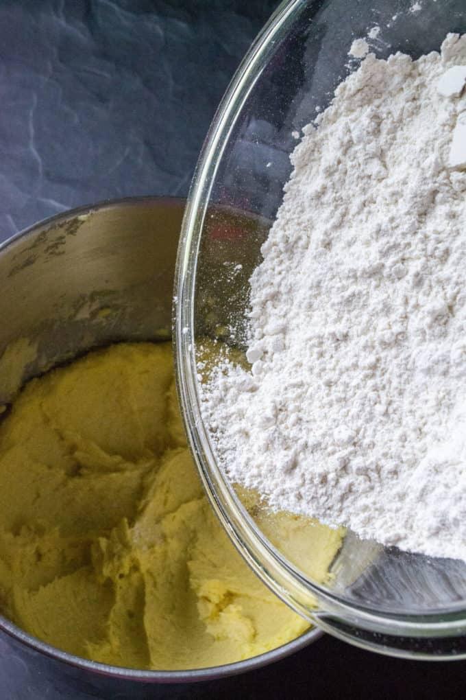 adding flour to wet ingredients