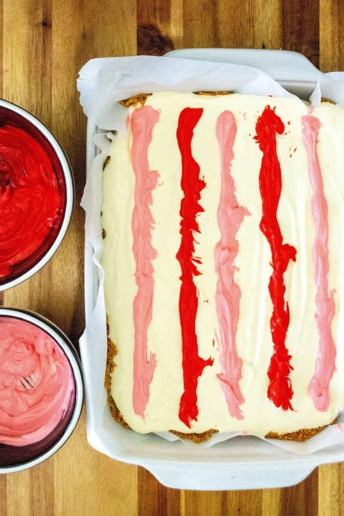 Valentine's Day Cheesecake Bars color stripes