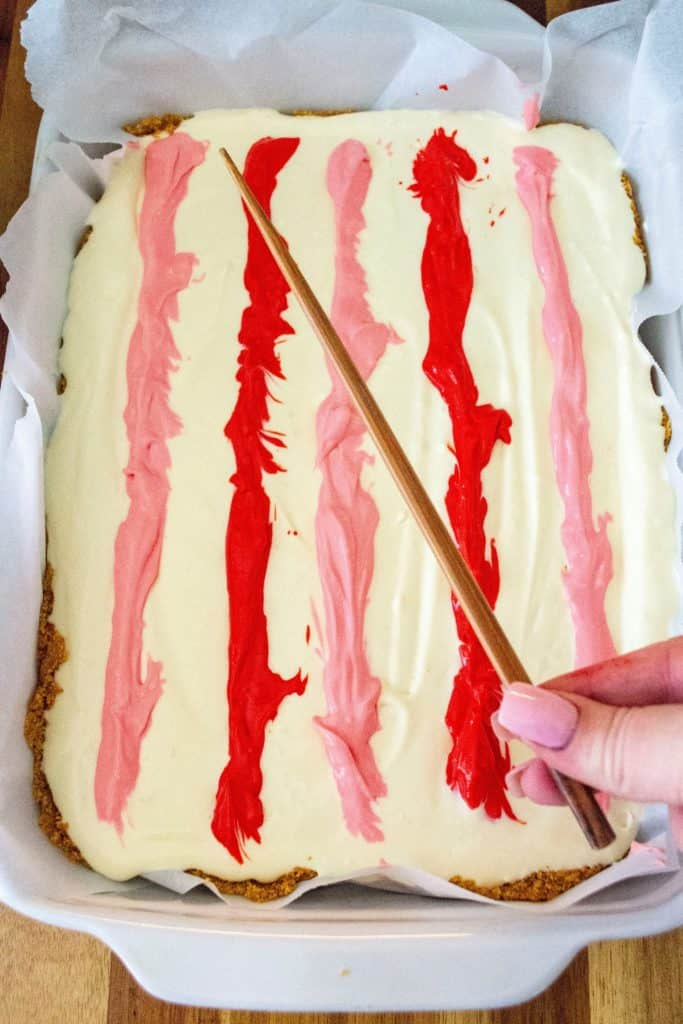 Valentine's Day Cheesecake Bars chopstick