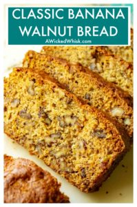 Banana Walnut Bread is the ultimate super moist banana bread made with tons of crunchy walnuts. Made with over-ripe bananas and brown sugar, thisBanana Walnut Bread is the perfect old fashioned homemade banana bread recipe. #bananabread #bananabreadeasy #bananabreadrecipe #bananawalnutbreadmoist #bananawalnutbread #bananawalnutbreadrecipe #bananabreadmoistbest #banananutbread #moistbananabread #bestbananabreadrecipe