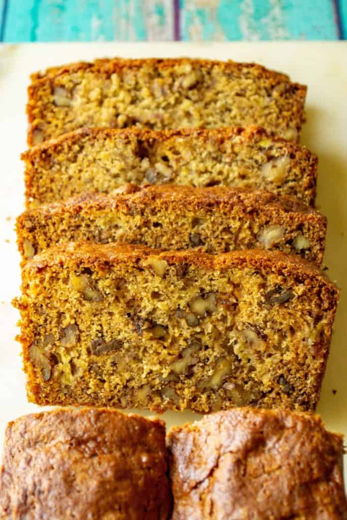 Banana Walnut Bread sliced loaf