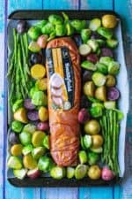 This Easy Sheet Pan Pork Tenderloin Dinner is the perfect healthy and delicious family friendly meal with easy prep and super fast clean up.  Using super flavorful marinated Smithfield Golden Rotisserie pork tenderloin, this easy sheet pan dinner does all the work for you!