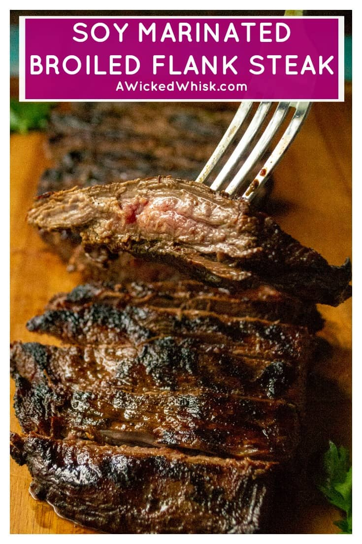 Soy Marinated Broiled Flank Steak is a tender broiled flank steak perfectly seasoned by an overnight flank steak soy sauce marinade. Easily cooked in your oven, thisSoy Marinated Broiled Flank Steak is tender on the inside and perfectly seared on the outside. #flanksteak #flanksteakrecipes #flanksteakmarinade #flanksteakoven #flanksteakovenbroiled #flanksteakcastiron #flanksteakeasy #flanksteakoveneasy