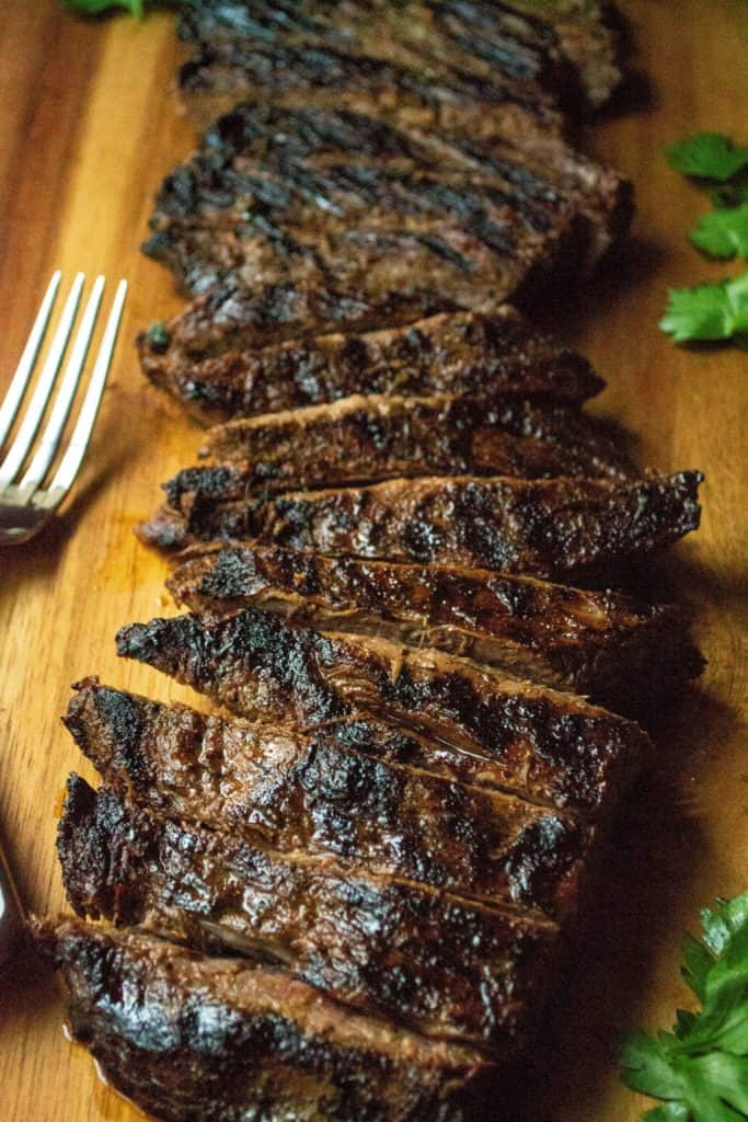 Soy Marinated Broiled Flank Steak cooked perfectly