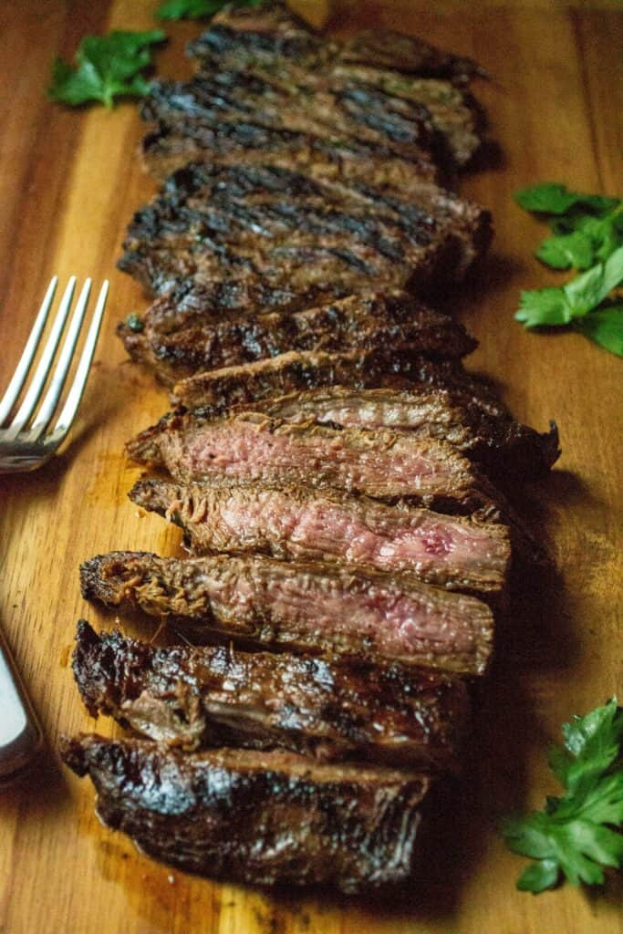 Soy Marinated Broiled Flank Steak cooked