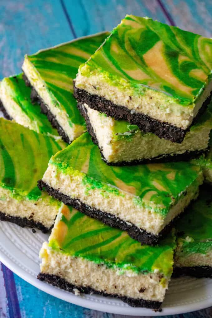 St. Patrick's Day Baileys Cheesecake Bars