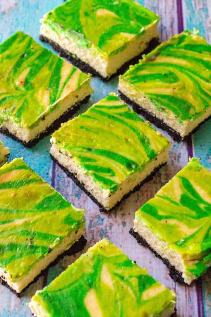 St. Patrick's Day Baileys Cheesecake Bars squares