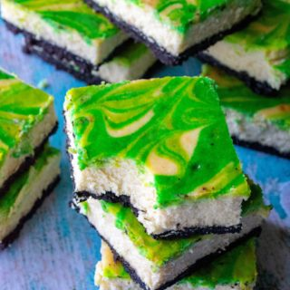 St. Patrick's Day Baileys Cheesecake Bars bite