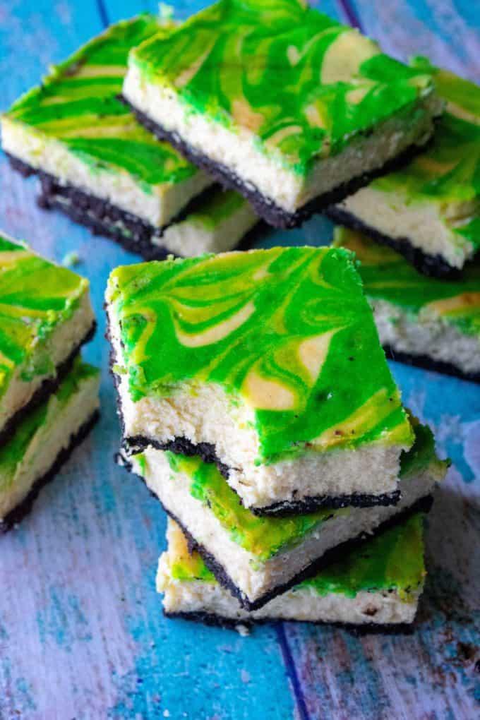 St. Patrick's Day Baileys Cheesecake Bars bite