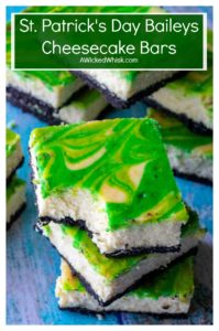 St. Patrick's Day Baileys Cheesecake Bars are the perfect green desserts to celebrate St.Patrick's Day all year long. Creamy cheesecake made with Baileys Irish Cream, theseSt. Patrick's Day Baileys Cheesecake Bars are the ultimate swirl cheesecake bars. #boozystpatricksdaydesserts #stpatricksdaydessertsbakingchocolatecheesecake #stpatricksdaycheesecake #greenfood #stpatricksdaycheesecakegreen #stpatricksdayfood #greendesserts #baileysfooddesserts