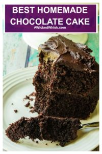 This dark, moist homemade chocolate cake recipe is made from scratch and the BEST chocolate cake recipe you will ever taste! Super easy to make and served up with homemade chocolate buttercream frosting, this Best Homemade Chocolate Cake is the best chocolate cake you will ever eat.. and you won't believe the secret ingredient that makes all the difference! #chocolatecake #chocolatecakerecipe #chocolatecakemoist #chocolatecakefromscratch #chocolatecakeeasymoist