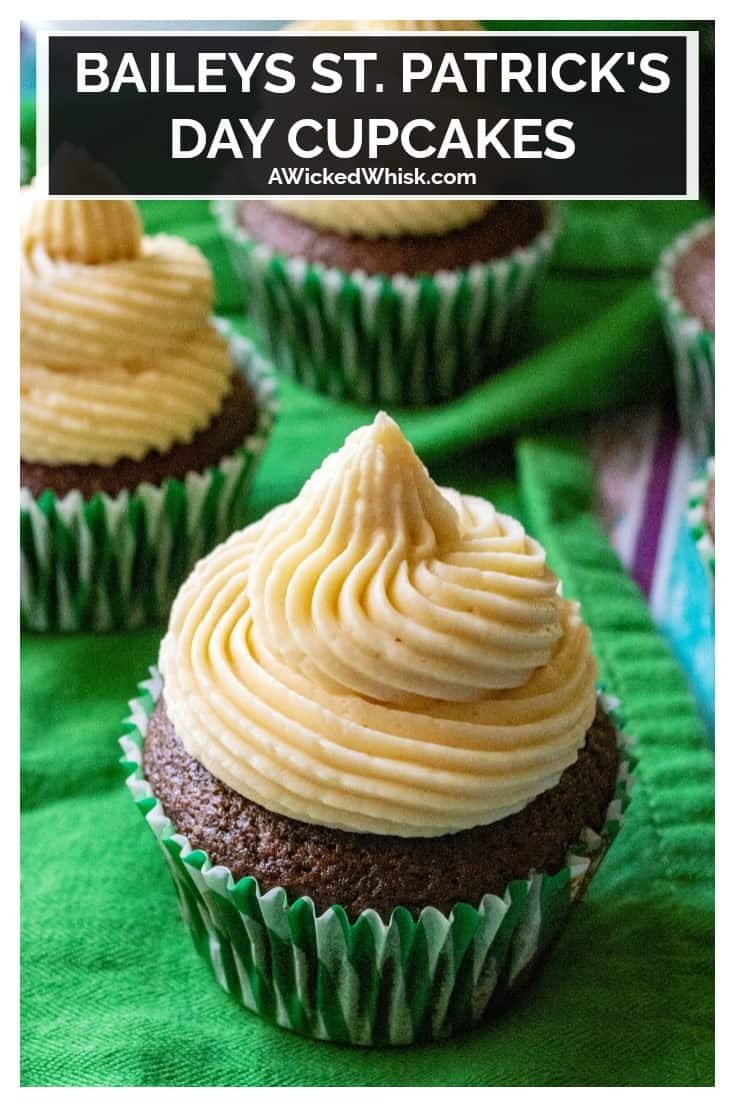 Baileys St. Patrick's Day Cupcakes are moist chocolate cupcakes infused with Baileys Irish Cream and topped with Baileys buttercream frosting. TheseBaileys St. Patrick's Day Cupcakes are the perfect grown up St. Patrick's Day cupcakes!   A Wicked Whisk #stpatricksdayfood #stpatricksdaycupcakes #stpatricksdaycupcakesforadults #baileyscupcakes #stpatricksdaycupcakesbuttercreamfrosting #baileyschocolatecupcakes #baileysrecipesdesserts #baileysrecipesdessertirishcream