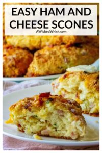 Ham and Cheese Savory Scones are rich, tender scones made with tons of cheddar cheese, crispy bacon, tender ham and chopped chives. The perfect easy brunch idea any day of the week. | A Wicked Whisk #hamandcheesescones #hamandcheesesconesrecipes #easyhamandcheesescones #savoryscones #savorysconesrecipes #savorysconesbreakfast #savorysconesbreakfasteasyrecipes #savorysconesbreakfastbrunch #easysavoryscones #savorysconesbacon #savorysconescheese #savorysconesbrunch