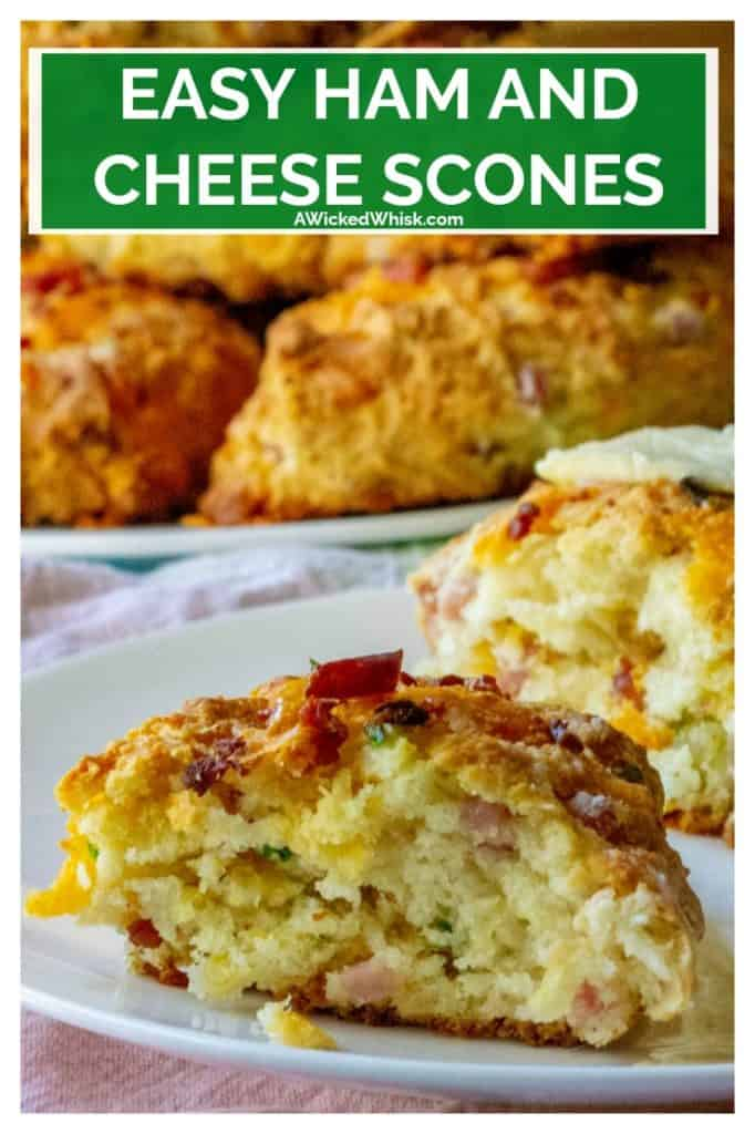 Ham and Cheese Scones are the perfect savory scones you have been looking for! Made with tons of cheddar cheese, crispy bacon, tender ham and chopped chives, theseHam and Cheese Scones are the perfect easy brunch idea any day of the week.   A Wicked Whisk #hamandcheesescones #cheesescones #hamandcheesesconesrecipe #hamandcheesesconescheddarbiscuits #easyhamandcheesescones #savoryscones #savorysconesbreakfast #savorysconescheddar #savorysconesbrunch #savorysconeshamandcheese