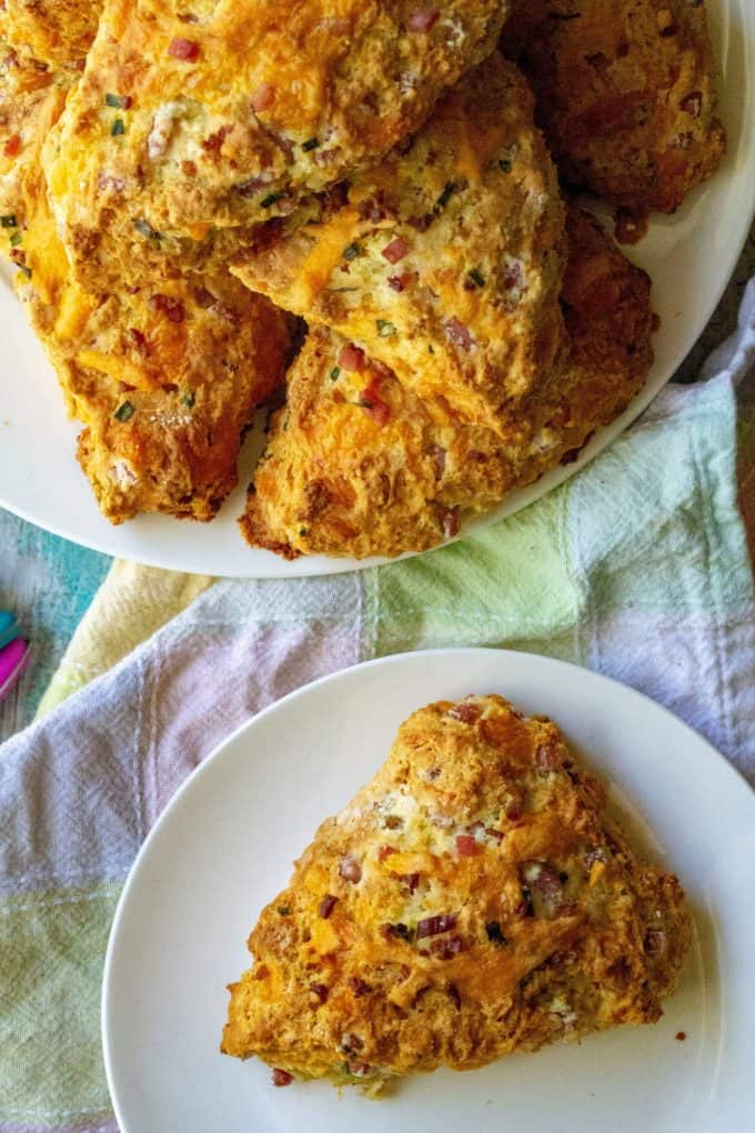 Ham and Cheese Savory Scones on a plate