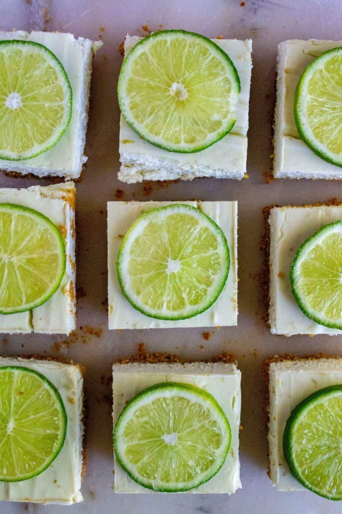 Key Lime Cheesecake Bars cut up