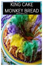 King Cake Monkey Bread is the ultimate easy pull apart bread to celebrate Fat Tuesday with. Made with refrigerated biscuits and a sweet praline coating, this King Cake Monkey Bread is perfect for any Mardi Gras party! | A Wicked Whisk #kingcake #kingcakeeasy #kingcakeeasypullapart #kingcakeeasyneworleans #kingcakemonkeybread #kingcakemonkeybreadpecanpralines #kingcakemonkeybreadpullapart #kingcakemonkeybreadpullapartcinnamonrolls #kingcakeneworleansmardigras
