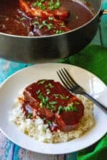 Slow Cooker Honey Garlic Pork Chops are sweet, savory and the perfect easy pork chop dinner to serve up this week! Simmered in a spicy honey garlic sauce, theseSlow Cooker Honey Garlic Pork Chops are tender, juicy and packed with tons of delicious flavor. | A Wicked Whisk