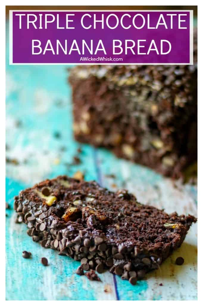 Triple Chocolate Banana Bread is super moist banana bread with TRIPLE chocolate throughout. Super easy chocolate banana bread speckled with mini chocolate chips and then slathered in homemade chocolate buttercream frosting makes this Triple Chocolate Banana Bread a chocolate lovers dream!| A Wicked Whisk #bananabread #chocolatebananabread #moistchocolatebananabread #easybananabreadrecipe #triplechocolatebananabread #chocolatebananabreadrecipe #darkchocolatebananabread