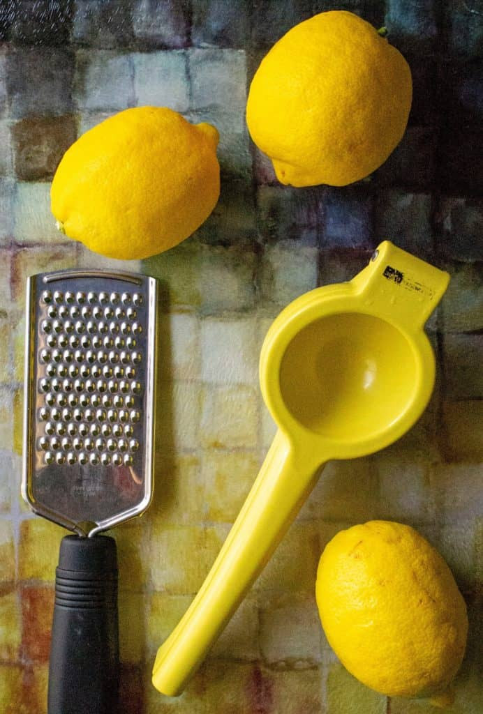 Dangerously Easy Classic Lemon Bars zester and juicer tools