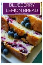 Blueberry Lemon Bread is easy to make, super moist and bursting with fresh blueberries and refreshing lemon flavor. Topped off with a tangy lemon glaze, this Blueberry Lemon Bread is perfect for both breakfast and dessert! #blueberrylemonbread #blueberrylemonbreadwithglaze #blueberrylemonbreadsourcream #blueberrylemonbreadmoist #lemonbread #bestblueberrylemonbread