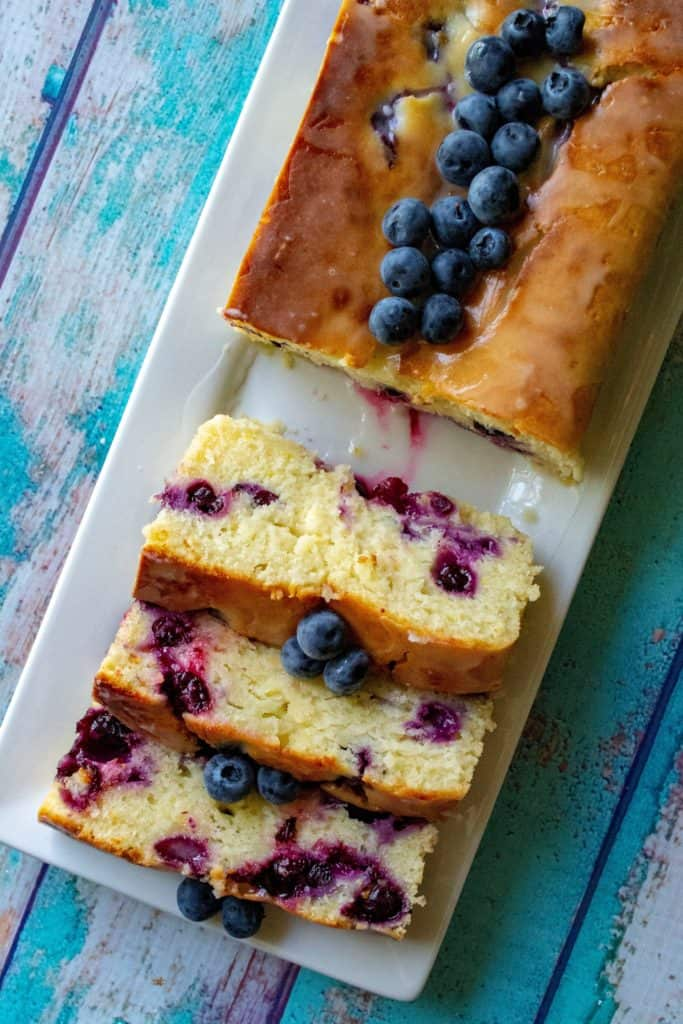 Blueberry Lemon Bread slices on a tray