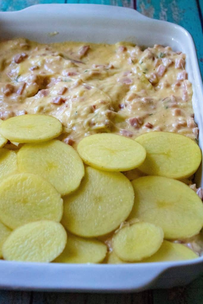 Cheesy Scalloped Potatoes and Ham second layer of potatoes