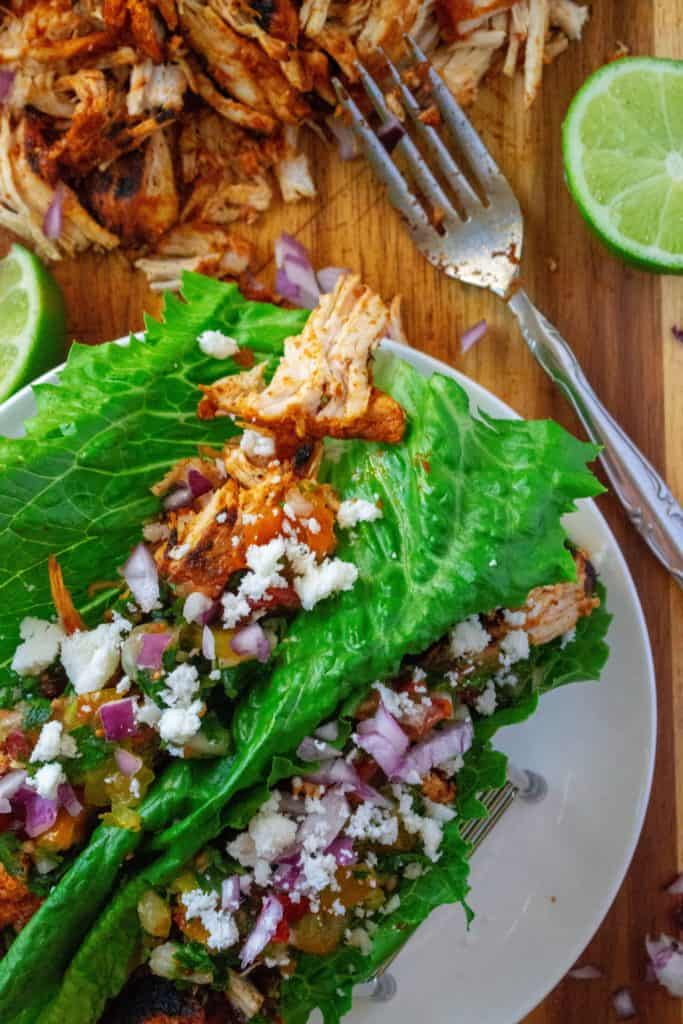 Chili Lime Chicken Tacos lettuce wraps