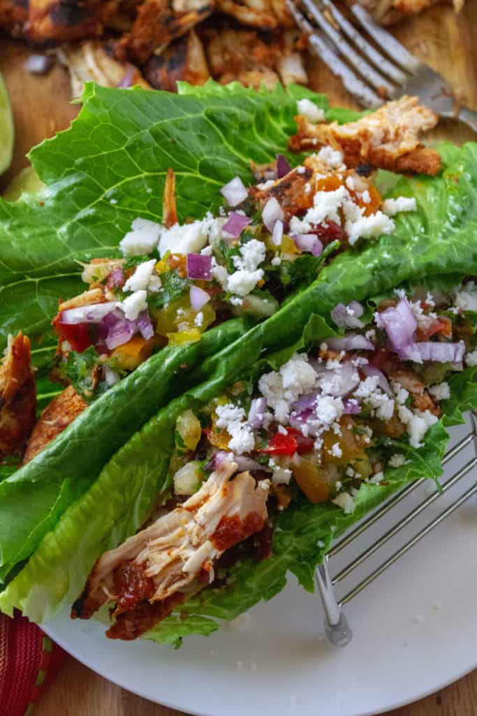 Chili Lime Chicken Tacos lettuce wrap tacos