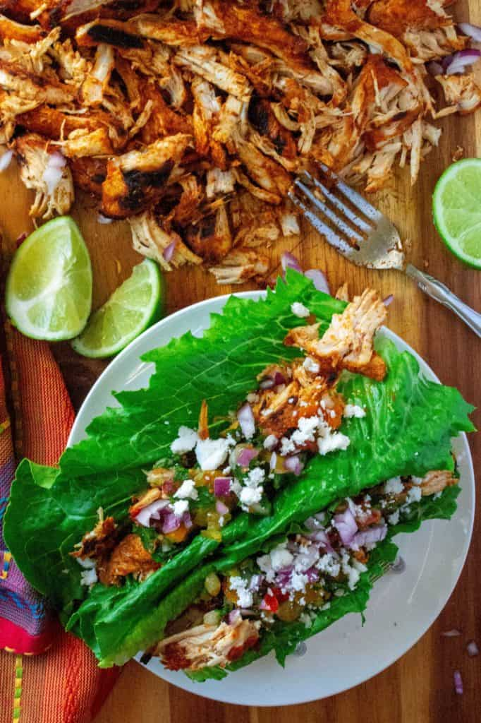 Chili Lime Chicken Tacos on a plate