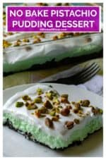 No Bake Pistachio Pudding Dessert is the perfect easy no bake layered dessert to end any meal. Made using Jell-O Pistachio Instant Pudding, chocolate sandwich cookies and whipped topping, this easy pistachio dessert is always a family favorite recipe! #pistachiopuddingdessert #pistachiopuddingdesserteasy #pistachiopuddingdessertnobake #oreopistachiopuddingdessert #summernobakedessert #nobakedessertseasy