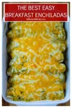 Breakfast Enchiladas with Poblano Sauce are hearty, spicy and perfect for feeding a crowd. Made with eggs, bacon, sausauge crumbles and spicy potatoes, these Breakfast Enchiladas are the tastiest way to start the day. | A Wicked Whisk #enchiladas #easyenchiladarecipe #breakfastenchiladas #breakfastenchiladasmakeahead #easybreakfastenchiladas #mexicanbreakfastenchiladas #mexicanenchiladas #breakfastenchiladasgreechile #easymexicanrecipe #mexicanfood #homemadeenchiladasauce