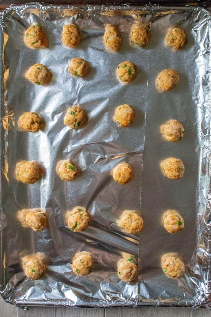 Keto Chicken Meatballs on a sheet pan