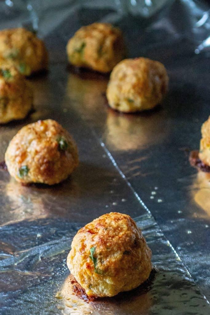Keto Chicken Meatballs on a baking sheet