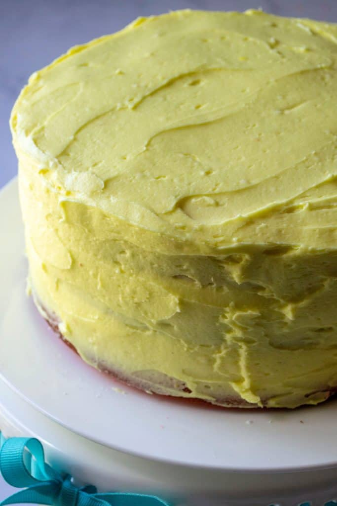 Pink Lemonade Cake with lemon buttercream frosting| A Wicked Whisk