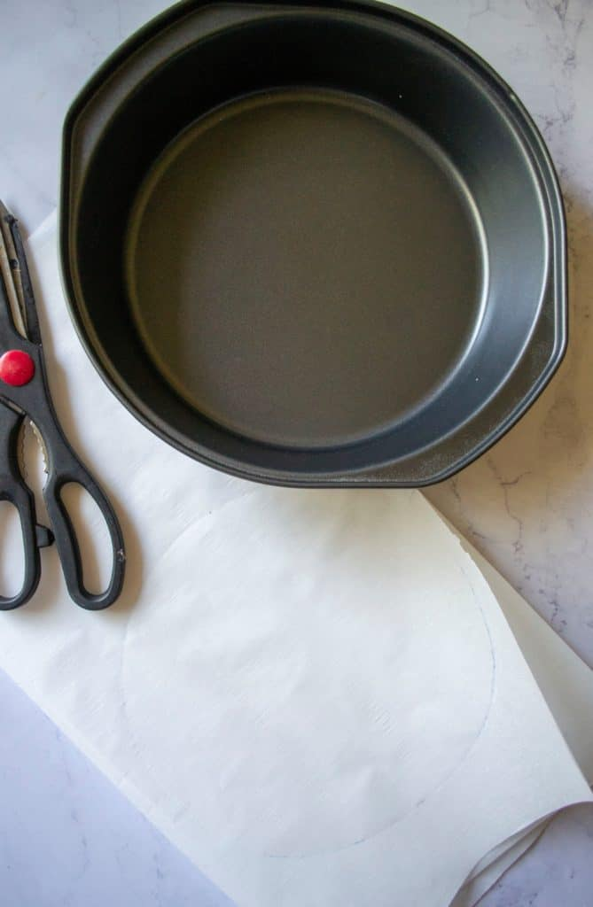 Pink Lemonade Cake cake pan liners  A Wicked Whisk