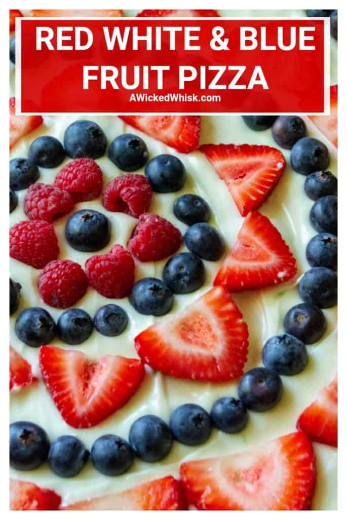 Red White and Blue Fruit Pizza is an easy fruit pizza that tastes amazing and will be your favorite Fourth of July dessert. Made with a Pillsbury sugar cookie crust, fresh fruit, powdered sugar, lime and cream cheese, this Red White and Blue Fruit Pizza is the perfect patriotic dessert to show off your Ameican pride! | A Wicked Whisk #fruitpizza #redwhitebluefood #redwhitebluedessert #redwhitebluefruitpizza #fourthofjulypartyfood #memorialdaydesserts
