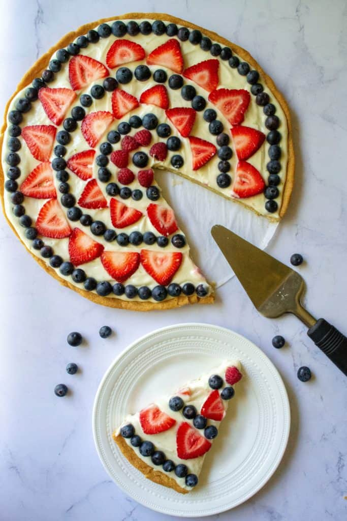 Red White and Blue Fruit Pizza on a plate