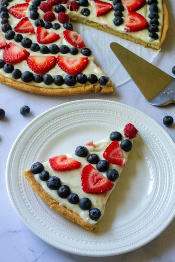 Fourth of July Fruit Pizza served up on plate