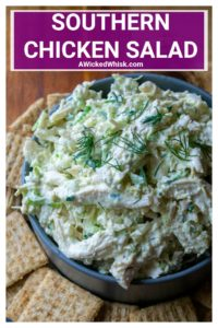 Southern Chicken Salad takes your favorite classic chicken salad recipe and kicks it up a notch with hard boiled eggs, shredded chicken and sweet pickle relish. A round the year must have, this Southern Chicken Salad recipe is creamy, crunchy, packed with flavor and will soon be your go-to favorite chicken salad. | A Wicked Whisk #chickensaladrecipe #southernchickensalad #shreddedchickensaladrecipe #classicsouthernchickensaladrecipe #southernchickensaladrecipesourcream