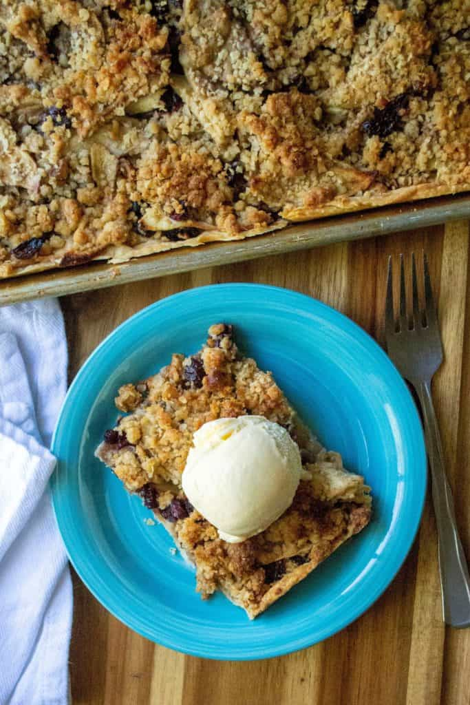 Cranberry Walnut Apple Slab Pie on a plate
