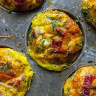 Keto Bacon Egg Muffins cooked in a tin