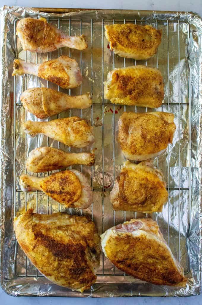 Easy Oven Baked BBQ Chicken on a baking tray