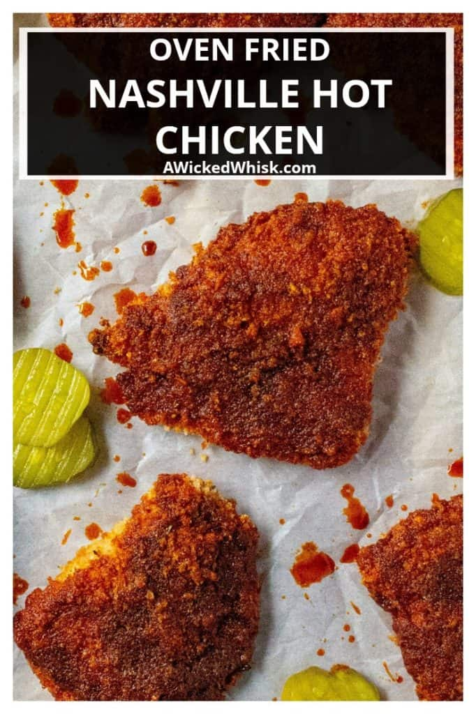 Oven Fried Nashville Hot Chicken is the very best homemade hot chicken recipe baked crispy in the oven and each bite is spicier than the last. Oven fried chicken slathered in a spicy cayenne glaze, this Oven Fried Nashville Hot Chicken will be your new favorite way to serve up chicken. | A Wicked Whisk #hotchicken #nashvillehotchicken #hotchickenoven #hotchickenbaked #hotchickensauce #hotchickenrecipe #nashvillehotchickenrecipe #nashvillehotchickenbaked #spicychickenbaked