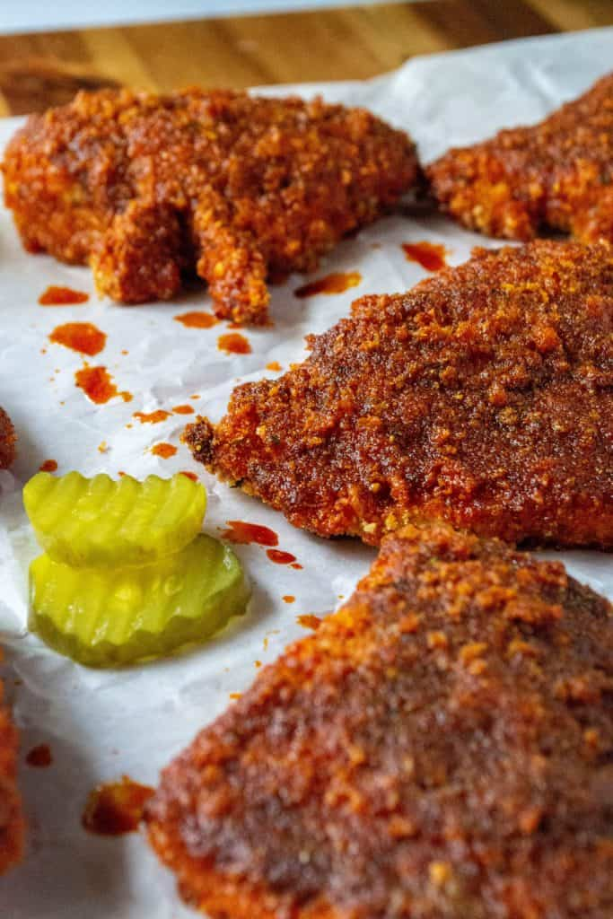 Oven Fried Nashville Hot Chicken with pickles