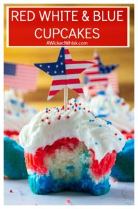 Red White and Blue Patriotic Cupcakes are the perfect Fourth of July Cupcakes to show off your American pride. Made using a box cake mix and topped off with homemade buttercream frosting, these red, white and blue layered cupcakes will be the star of every Fourth of July dessert table. | A Wicked Whisk #redwhitebluecupcakes #redwhitebluedesserts #redwhitebluedesserts4thofjuly #redwhitebluedessertsmemorialday #redwhitebluecupcakes4thofjuly #redwhitebluecupcakesamericanflag