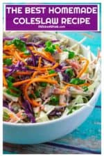 This Best Homemade Coleslaw Recipe is easy to make, quick to pull together and the perfect coleslaw recipe to make in advance.  Packed with flavor, made using green and purple cabbages and mixed with a tangy sour cream dressing, this Best Homemade Coleslaw Recipe is a family favorite every time! | A Wicked Whisk #coleslawrecipe #coleslawdressing #coleslawrecipeeasy #bestcoleslawrecipe #creamycoleslawrecipe #homemadecoleslawrecipeeasy #homemadecolelsawdressing #slawrecipes