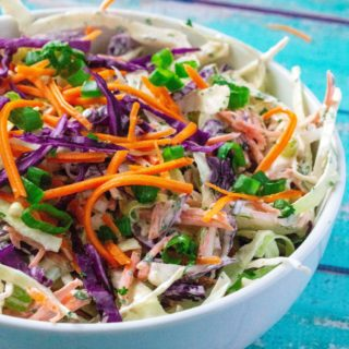 This Best Homemade Coleslaw Recipe is easy to make, quick to pull together and the perfect coleslaw recipe to make in advance.  Packed with flavor, made using green and purple cabbages and mixed with a tangy sour cream dressing, this Best Homemade Coleslaw Recipe is a family favorite every time!