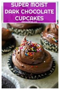 These Dark Chocolate Cupcakes are easy to make and are the ultimate moist chocolate cupcake recipe you have been looking for. Rich, decadent and packed with tons of dark chocolate flavor, these Dark Chocolate Cupcakes will be your favorite go-to easy cupcake recipe. | A Wicked Whisk #darkchocolatecupcakes #darkchocolatecupcakesmoist #darkchocolatecupcakesfromscratch #darkchocolatecupcakeseasy #darkchocolatecupcakesrecipe #bestdarkchocolatecupcakes