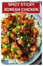 This Spicy Korean Chicken is sticky, savory, spicy, sweet and ready in under 30 minutes! Bite sized sauteed chicken smothered in a spicy Korean red sauce made with fiery gochujang, rice wine vinegar, soy sauce, honey, sesame oil, garlic and fresh ginger is the ultimate spicy comfort food. Serve over rice for the ultimate easy chicken dinner. #koreanchicken #koreanchickenrecipe #spicykoreanchicken #koreanchickenandrice #koreanchickenfood #koreanchickeneasy #koreanchickenbowl